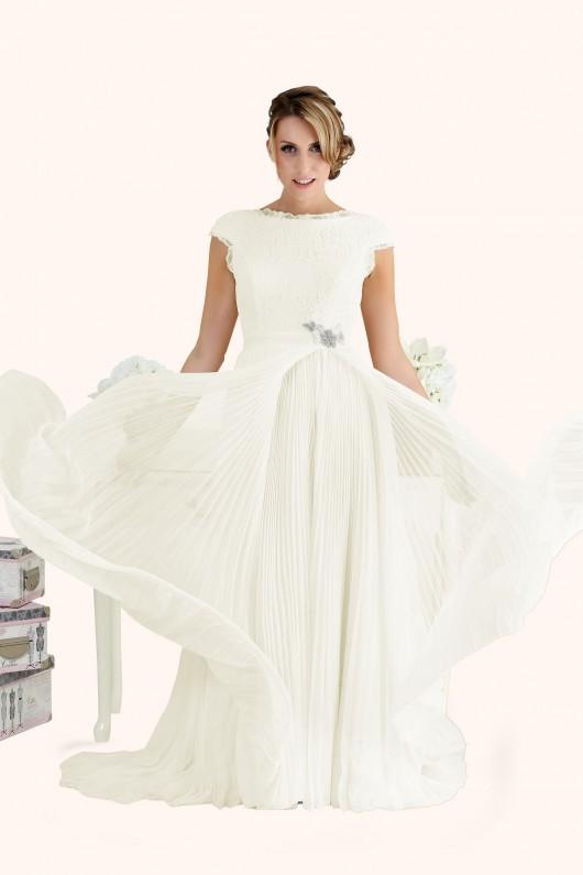 Estilo Moda Wedding Dress Milton Keynes Estilo Moda Bridal - Bespoke Wedding Dress Designer - Caroline Bateau Neckline Lace Bodice Open Back Pleated Chiffon Skirt with slit Wedding Dress