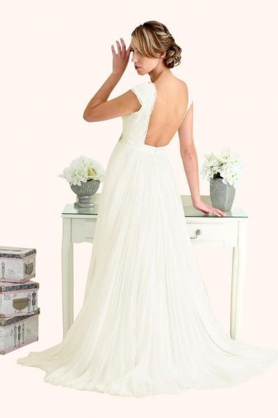Milton Keynes Estilo Moda Bridal - Bespoke Wedding Dress Designer - Caroline Bateau Neckline Lace Bodice Open Back Pleated Chiffon Skirt with slit Wedding Dress Back