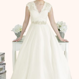 Lace V Neck Cap Sleeve Wedding Dress with a full soft silk feel chiffon Ball Gown Skirt. Affordable and bespoke wedding dressmakers in Milton Keynes London