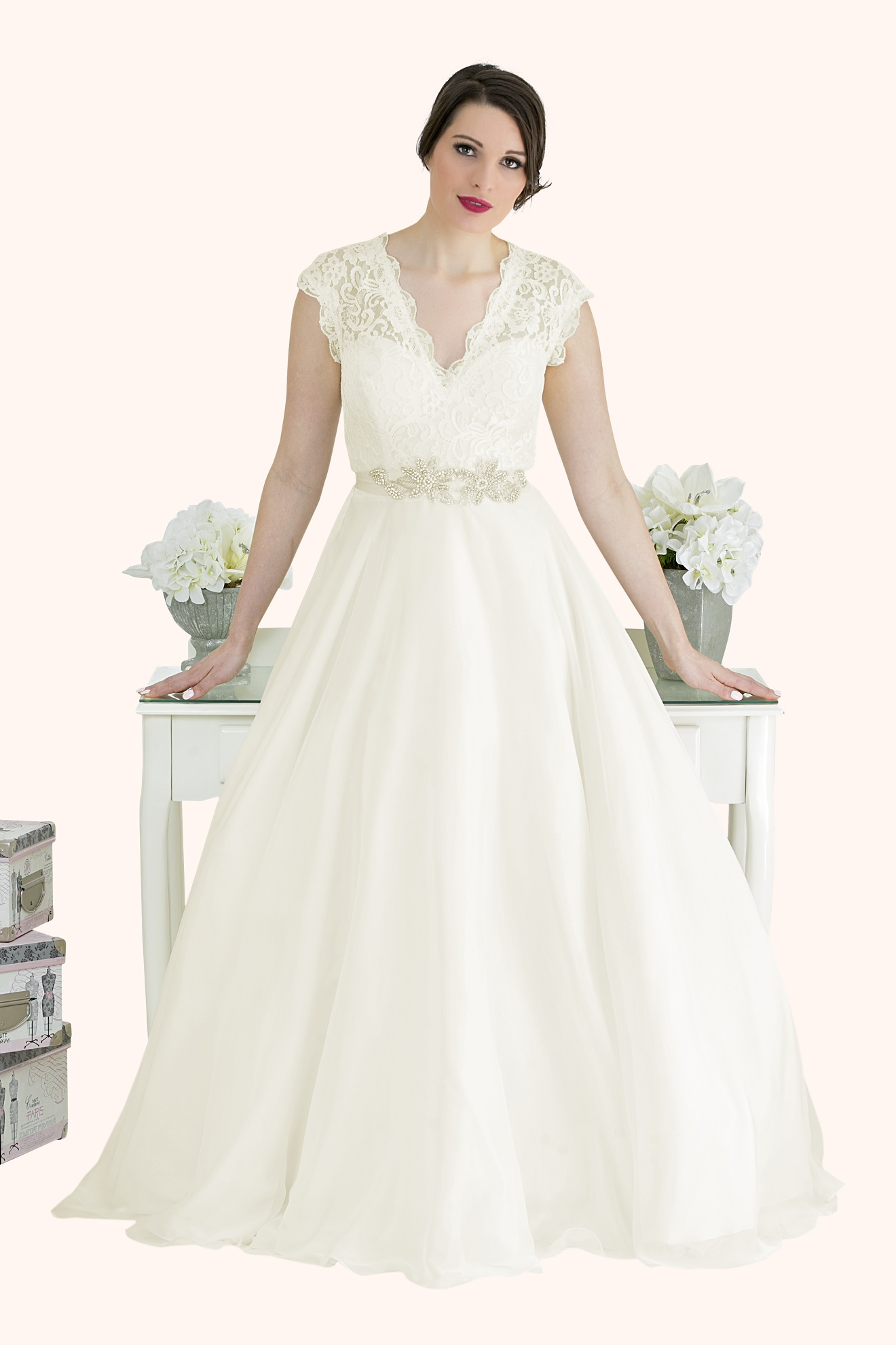 Catherine lace v neck cap sleeve wedding dress lace v neck cap sleeve wedding dress with a full soft silk feel chiffon ball gown ombrellifo Gallery