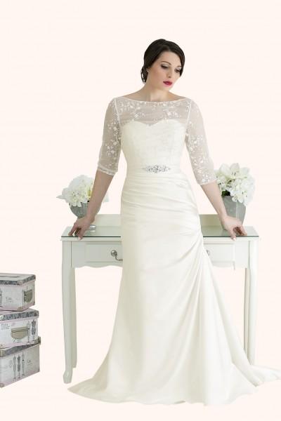 Milton Keynes Estilo Moda Bridal - Bespoke Wedding Dress Designer - Chloe Sweetheart Neckline Ruched Satin Mermaid Wedding Dress-Cheap Affordable wedding dress