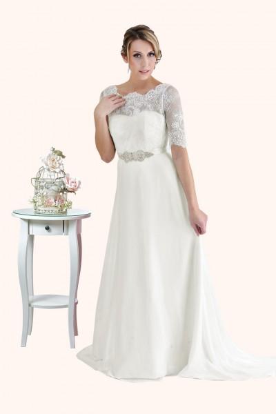 Milton Keynes Estilo Moda Bridal - Bespoke Wedding Dress Designer - Elizabeth Lace three quarter Sleeves illusion neckline and statement back Chiffon Skirt Wedding Dress
