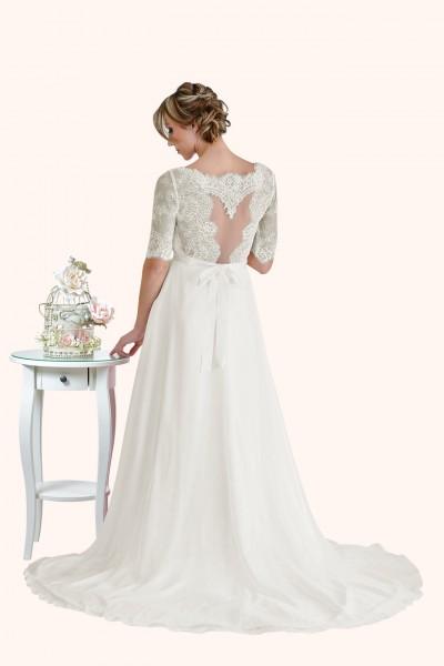 Milton Keynes Estilo Moda Bridal - Bespoke Wedding Dress Designer - Elizabeth Lace three quarter Sleeves illusion neckline and statement back Chiffon Skirt Wedding Dress back