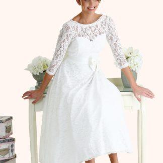 Wedding Dress Sample Sale -Estilo Moda Bridal - Bespoke Wedding Dress Designer - Kate 50s Style Tea Length Ivory Lace Three Quarter Sleeve Illusion Neckline Keyhole Back Wedding Dress Milton Keynes