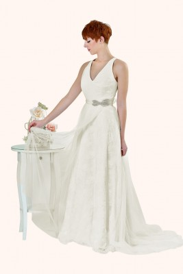 Wedding Dress Sample Sale Milton Keynes Estilo Moda Bridal - Bespoke Wedding Dress Designer - Matilda V Neckline Lace and Tulle Overlay A-Line Illusion Back Wedding Dress