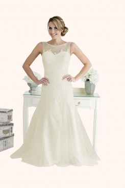 Wedding Dress Sample Sale Milton Keynes Estilo Moda Bridal - Bespoke Wedding Dress Designer - Millie Illusion Neckline lace and tulle fit and flare wedding dress -Cheap Affordable wedding dress
