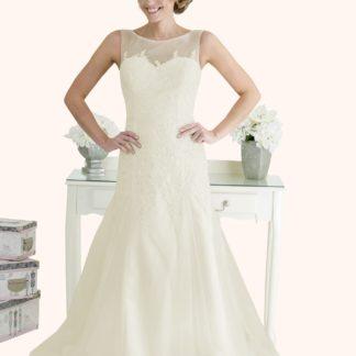 Wedding Dress Sample Sale Milton Keynes Estilo Moda Bridal - Bespoke Wedding Dress Designer - Millie Illusion Neckline lace and tulle fit and flare wedding dress -Cheap Affordable wedding dress