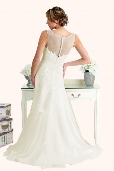 Milton Keynes Estilo Moda Bridal - Bespoke Wedding Dress Designer - Millie Illusion Neckline lace and tulle fit and flare wedding dress back-Cheap Affordable wedding dress