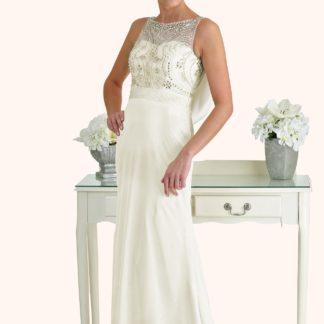 Milton Keynes Estilo Moda Bridal - Bespoke Wedding Dress Designer - Natasha Beaded Bodice Cowl Back Sheath Skirt Wedding Dress