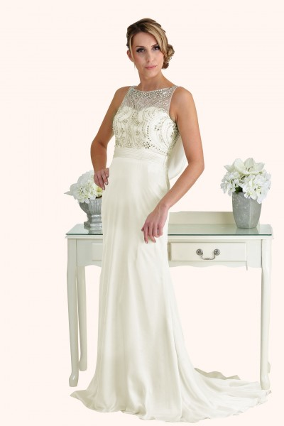 Milton Keynes Estilo Moda Bridal - Bespoke Wedding Dress Designer - Natasha Beaded Bodice Cowl Back Sheath Skirt Wedding Dress