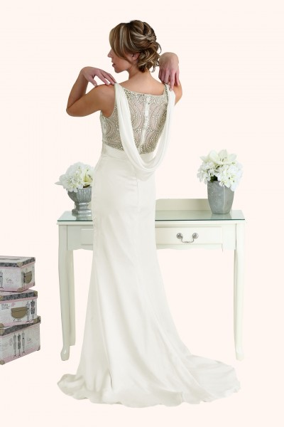 Milton Keynes Estilo Moda Bridal - Bespoke Wedding Dress Designer - Natasha Beaded Bodice Cowl Back Sheath Skirt Wedding Dress Back