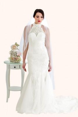 Wedding Dress Sample Sale Milton Keynes Estilo Moda Bridal - Bespoke Wedding Dress Designer - Zara High Neck Lace Mermaid Wedding Dress with skirt godet inserts
