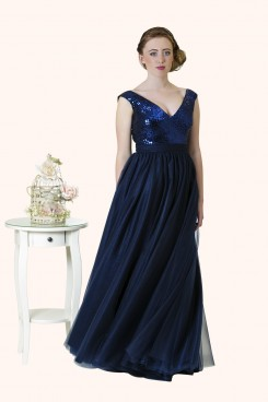 Estilo Moda Milton Keynes Faye ball gown sequin and tulle prom dress. navy blue evening dress, blue sequin bridesmaid dress