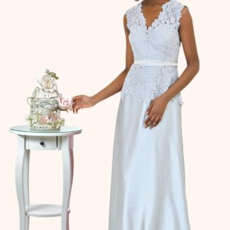 Estilo Moda Milton Keynes Fern Lace V Neckline Keyhole Back Prom Dress, Bridesmaid Dress, Mother of the Bride. Lace A-line evening dress