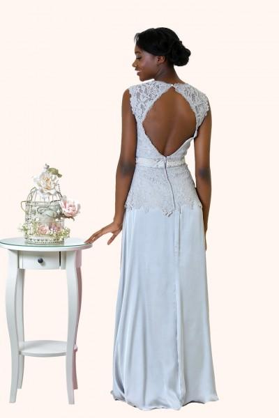 Estilo Moda Milton Keynes Fern Lace V Neckline Keyhole Back Prom Dress, Bridesmaid Dress, Mother of the Bride back view Lace A-line evening dress