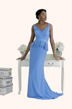 Estilo Moda Milton Keynes Frankie V Neck Lace Peplum sheath style blue Chiffon long length Bridesmaid Dress