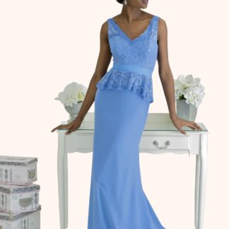 Estilo Moda Milton Keynes Frankie V Neck Lace Peplum sheath style blue Chiffon long length Bridesmaid Dress
