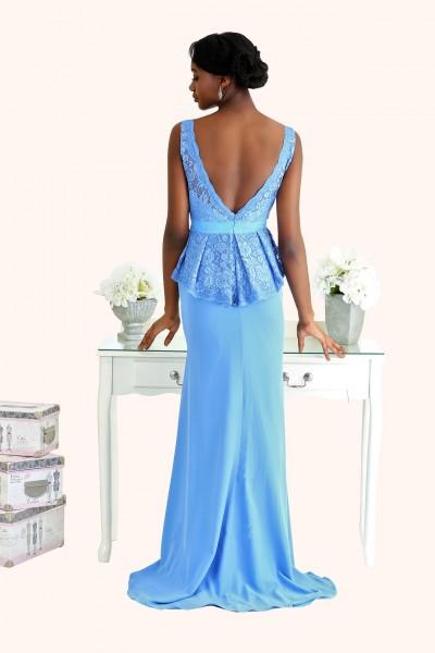 Estilo Moda Milton Keynes Frankie V Neck Lace Peplum sheath style blue Chiffon long length Bridesmaid Dress Back View