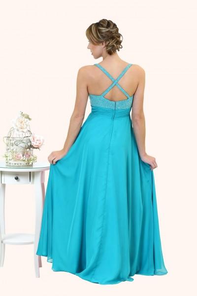 Estilo Moda Milton Keynes Grace Beaded Bodice A-Line Straps prom dress back view