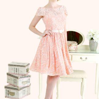 Estilo Moda Milton Keynes Jennifer Lace Illusion Neckline Cap sleeve and low back short length bridesmaid dress 50s style lace bridesmaid dress