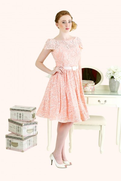 Estilo Moda Milton Keynes Jennifer Lace Illusion Neckline Cap sleeve and low back short length bridesmaid dress 50s style lace bridesmaid dress