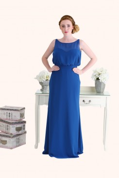 Estilo Moda Milton Keynes Laura Long Length Blue Chiffon A-Line Bridesmaid Dress Blousy Bodice Plus Size Bridesmaid Dress