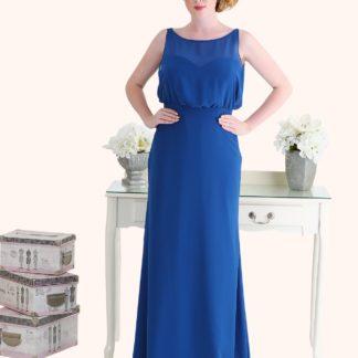 Estilo Moda Milton Keynes Laura Long Length Blue Chiffon A-Line Bridesmaid Dress Blousy Bodice Plus Size Bridesmaid Dress