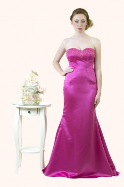 Estilo Moda Milton Keynes Lily Strapless Beaded Neckline Satin Mermaid Long Prom Dress. sweetheart neckline mermaid evening dress