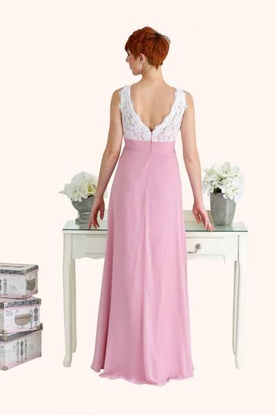Estilo Moda Illusion Neckline Bridesmaid Dress Milton Keynes Lucy Lace Illusion Neckline Bodice and Long Length Pink Chiffon A-Line Bridesmaid Dress Back View