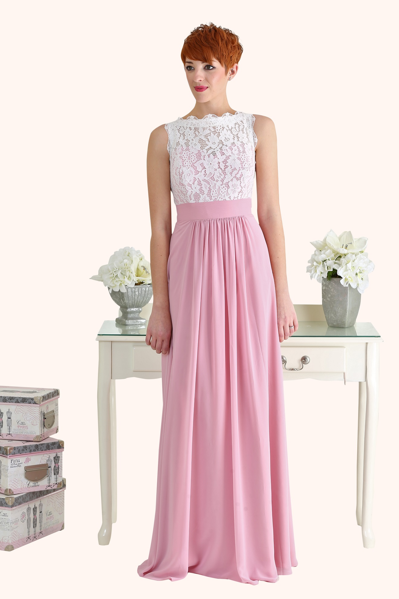 Lucy Lace Illusion Neckline Bodice and Long Length Pink Chiffon A ...
