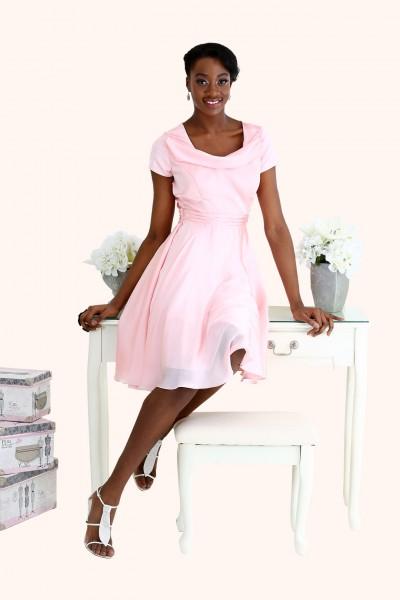 Estilo Moda Milton Keynes Poppy Cocktail Length satin cowl neck bridesmaid dress blush pink. Pastel Bridesmaid Dresses