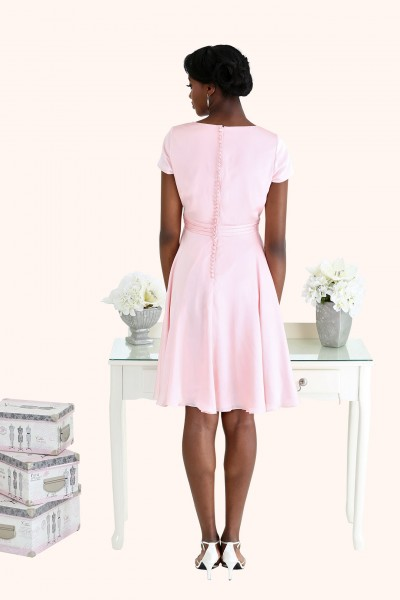 Estilo Moda Milton Keynes Poppy Cocktail Length satin cowl neck bridesmaid dress blush pink with buttons back view. Pastel Bridesmaid Dresses