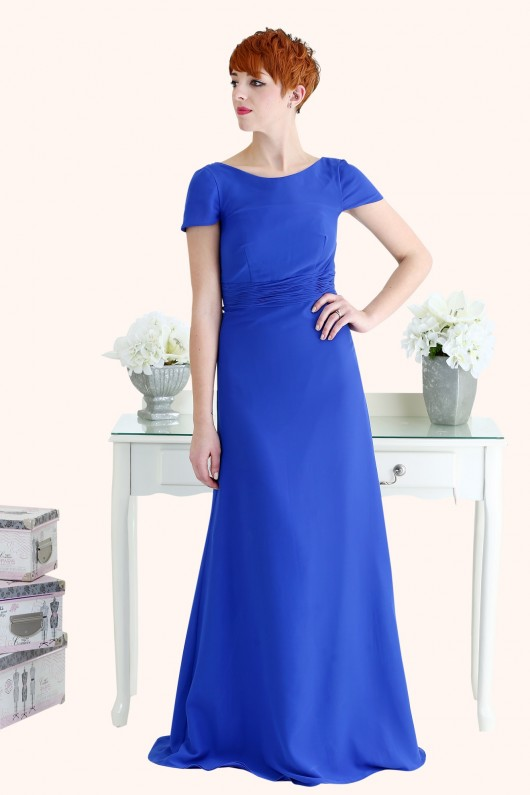 Estilo Moda Milton Keynes Roxanne Illusion neckline cap sleeve sheath style cowl back royal blue Chiffon Bridesmaid Dress cobalt blue bridesmaid dress
