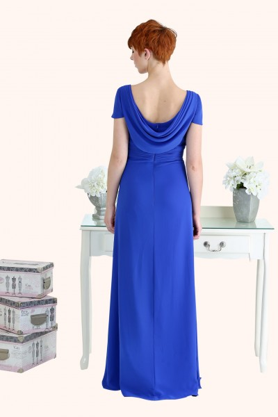 Estilo Moda Milton Keynes Roxanne Illusion neckline cap sleeve sheath style cowl back royal blue Chiffon Bridesmaid Dress Back View cobalt blue bridesmaid dress