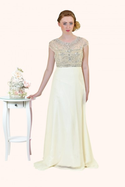 Estilo Moda Milton Keynes Sasha Beaded Bodice Cap Sleeve and A-Line Straps prom dress