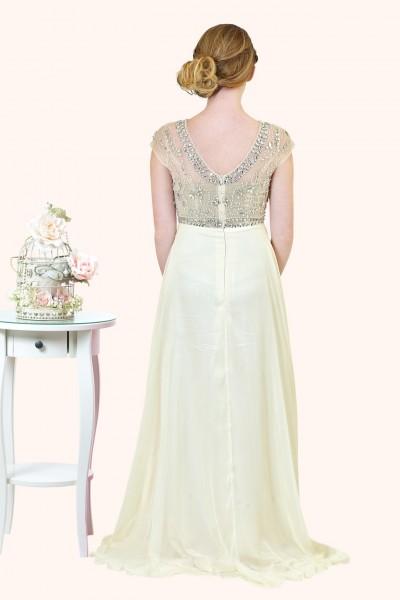 Estilo Moda Milton Keynes Sasha Beaded Bodice Cap Sleeve and A-Line Straps prom dress back view