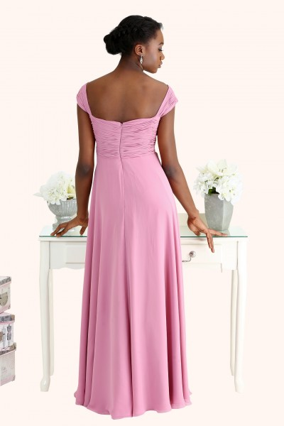 Estilo Moda Bridesmaid Dresses Milton Keynes Sophia Ruched Chiffon Cross Over Bodice Long Length Straps Empire Waist Pregnant Maternity Bridesmaid Dress Back view