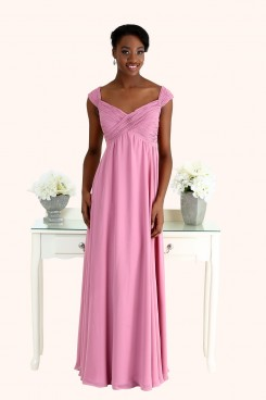 Sophia Ruched Chiffon Cross Over Bodice Long Length Straps Empire Waist Pregnant Maternity Bridesmaid Dress Back view