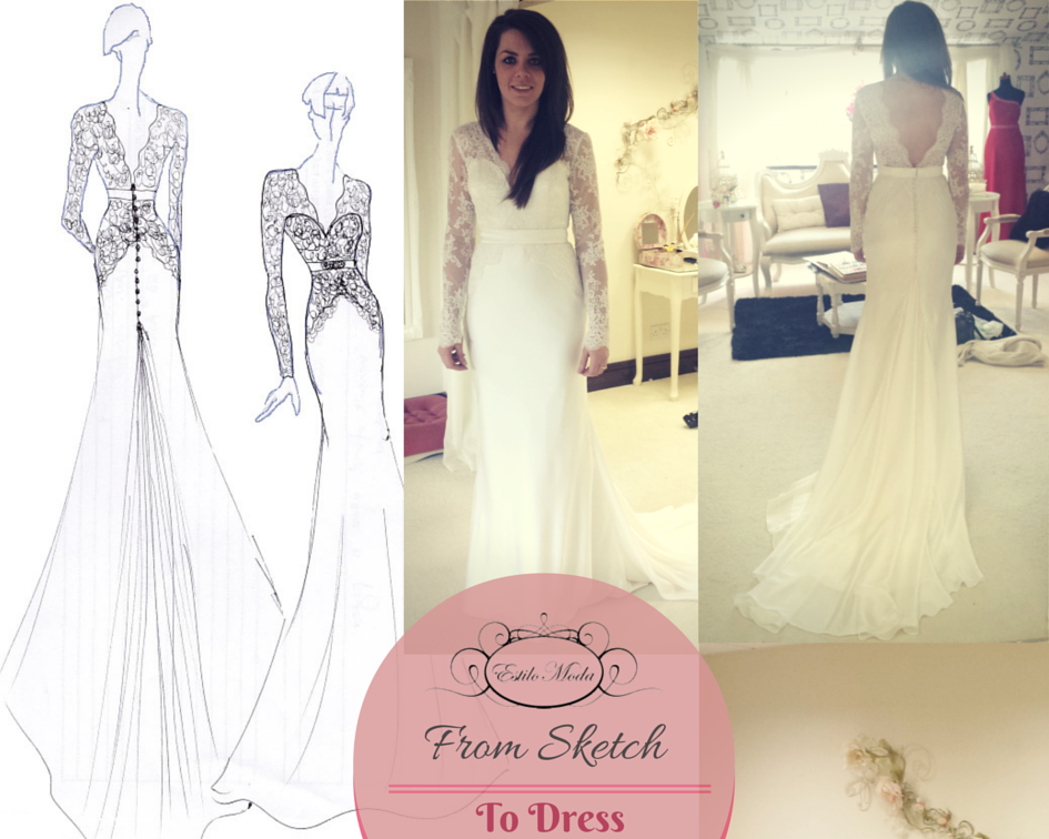 From Sketch to Dress - Long Sleeve Lace and Satin V Neck wedding dress with a deep V Back and godet