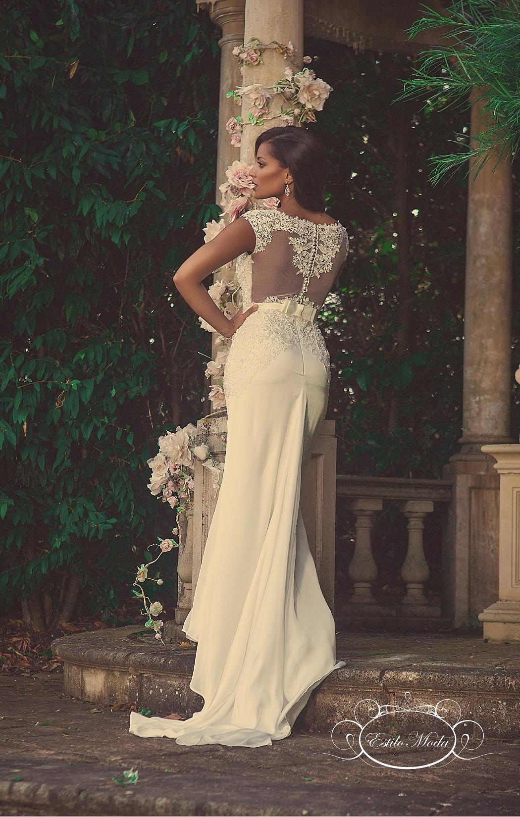 Charlotte Lace Illusion Statement Back Wedding Dress
