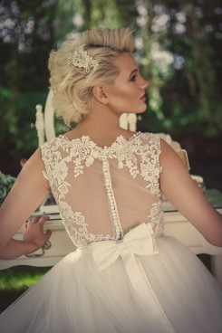 Zara Lace High Neck Low Back Wedding Dress
