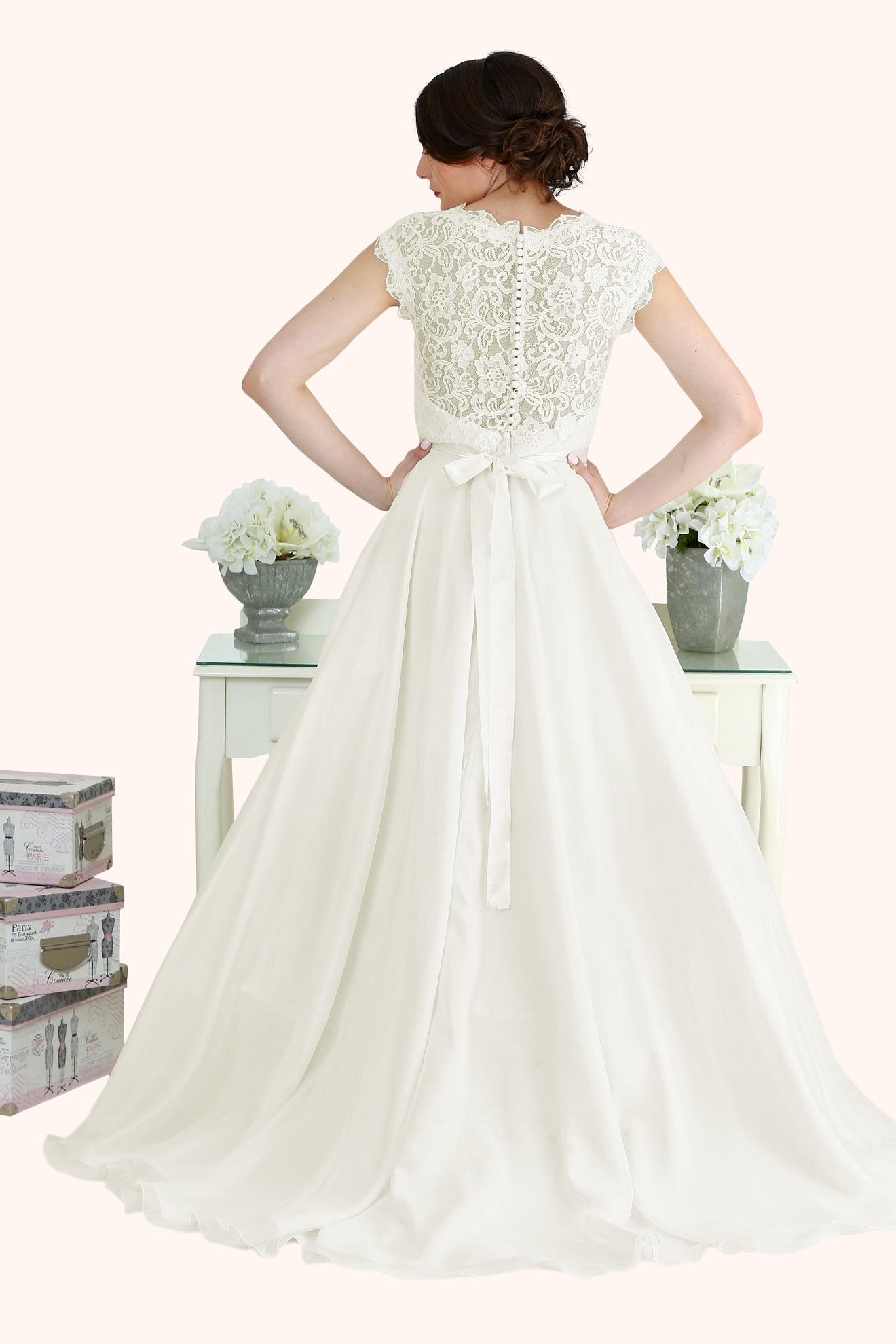 Catherine - Lace V Neck Cap Sleeve Wedding Dress