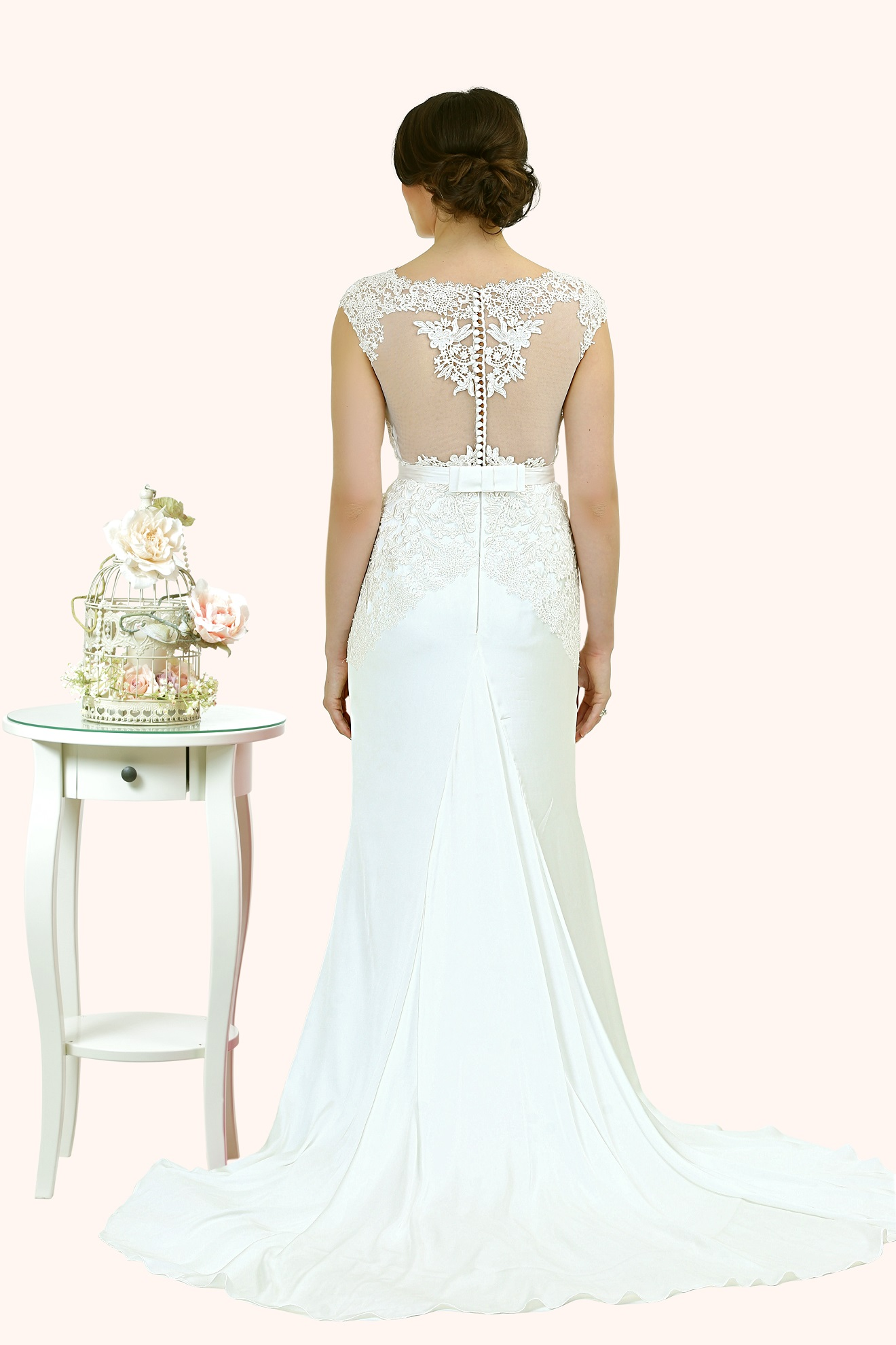Charlotte Lace Illusion Statement Back Wedding Dress