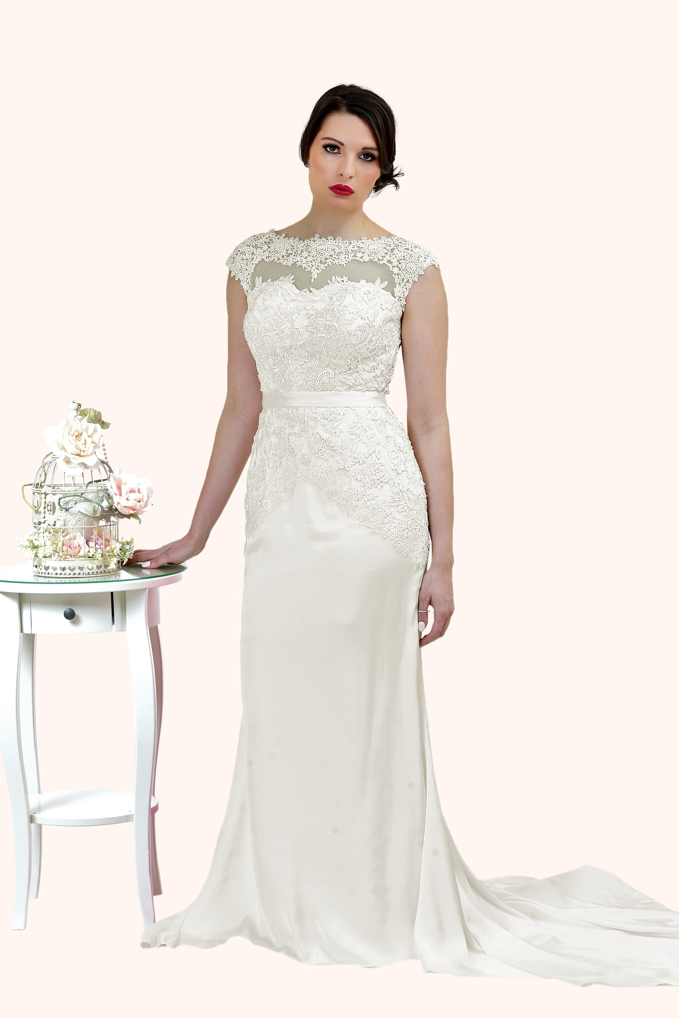 Charlotte lace illusion statement back wedding dress for Wedding dresses charlotte nc