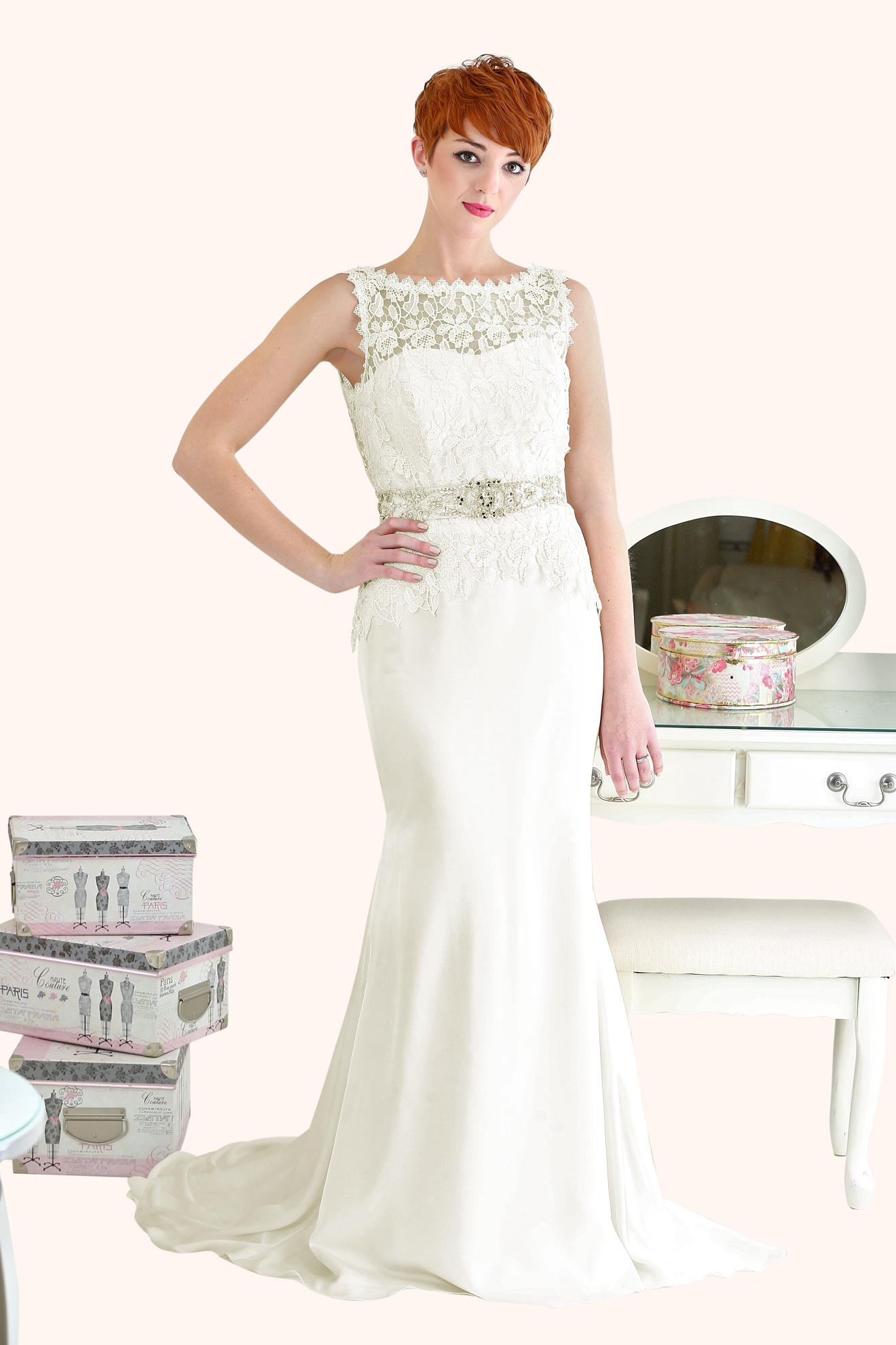 Darcy - Bateau Neckline Guipure Lace Wedding Dress
