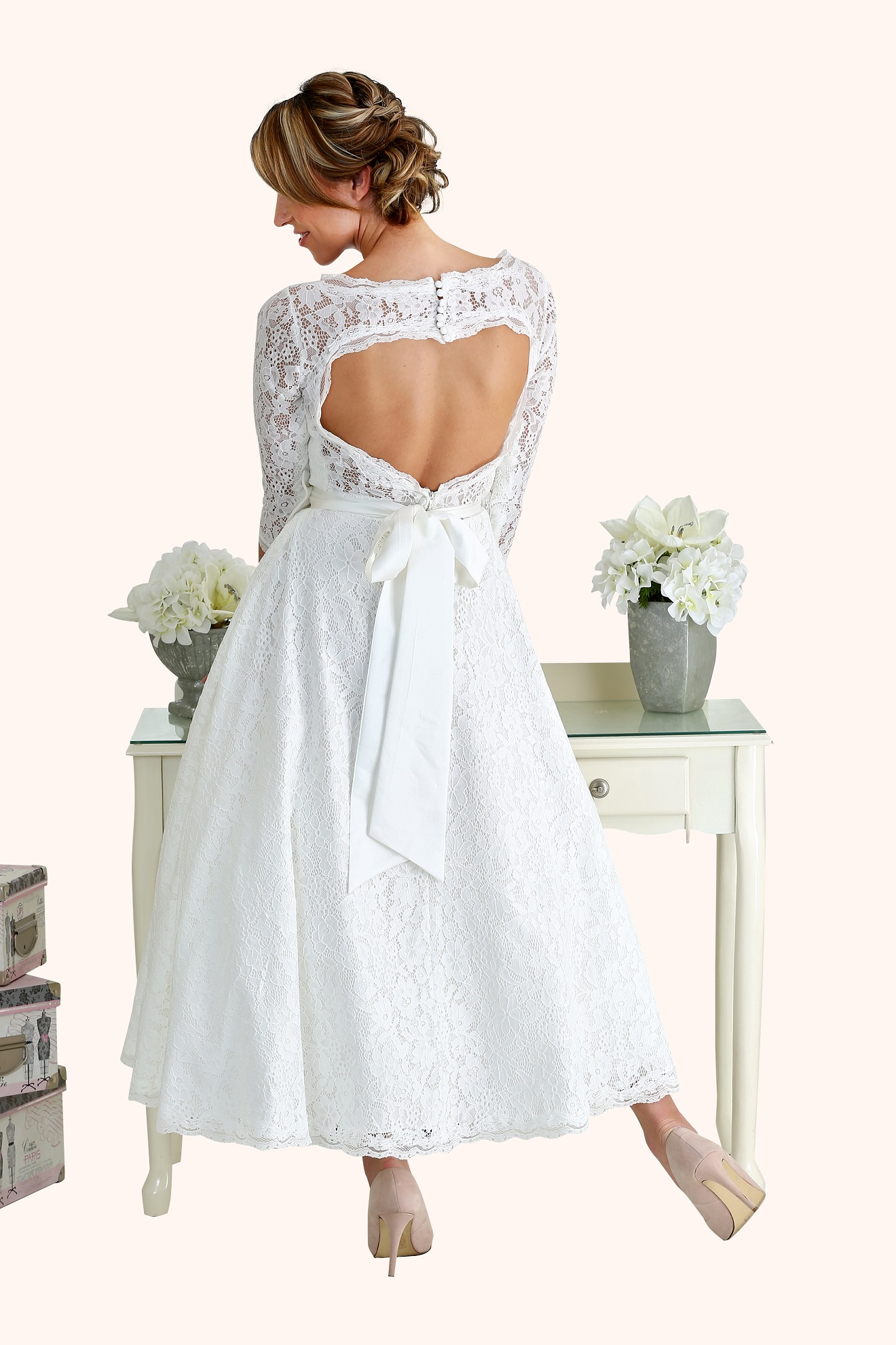 Kate - 50s Style Illusion Neckline Wedding Dress