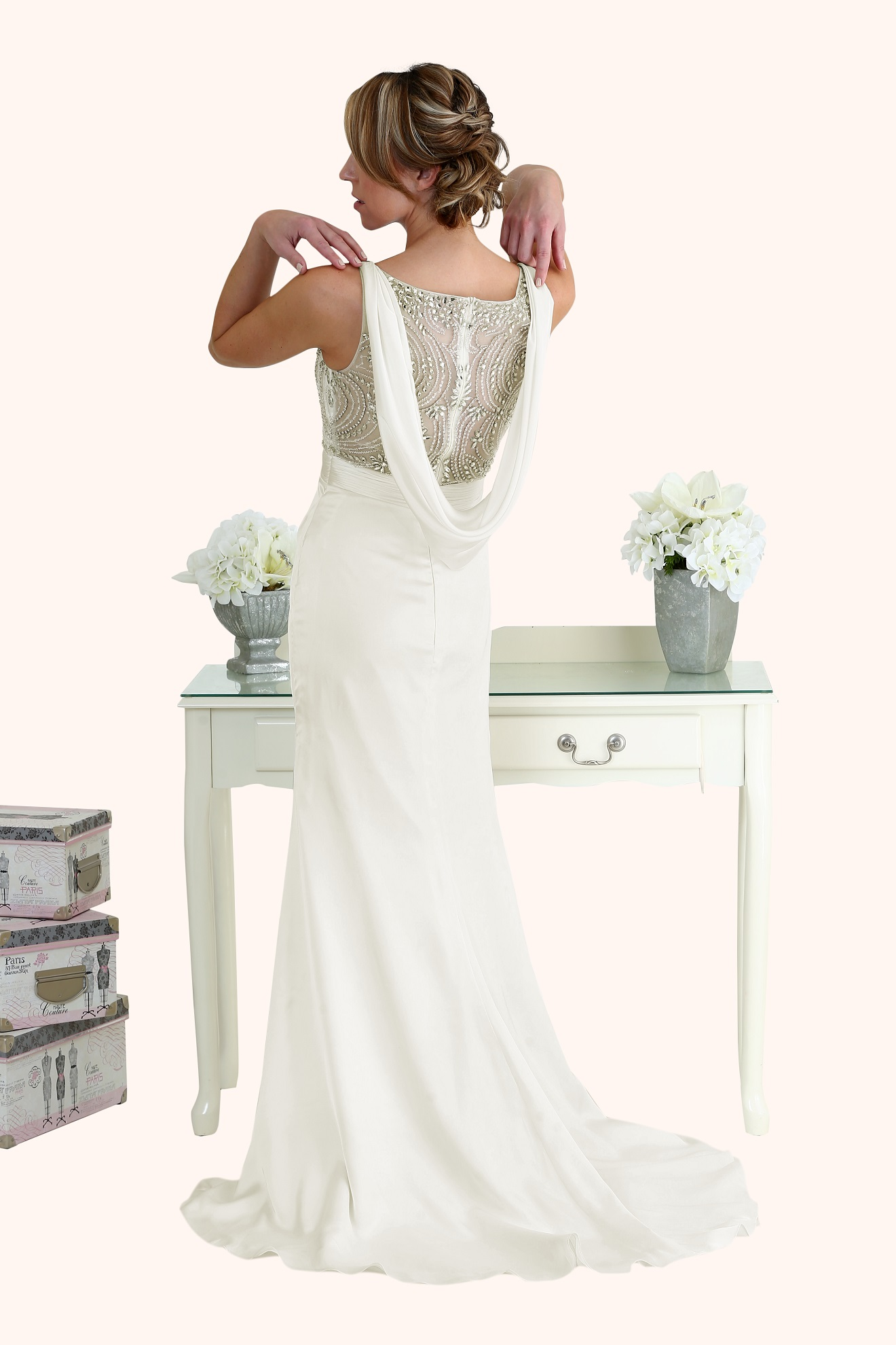 Natasha - Beaded Illusion Neckline Wedding Dress