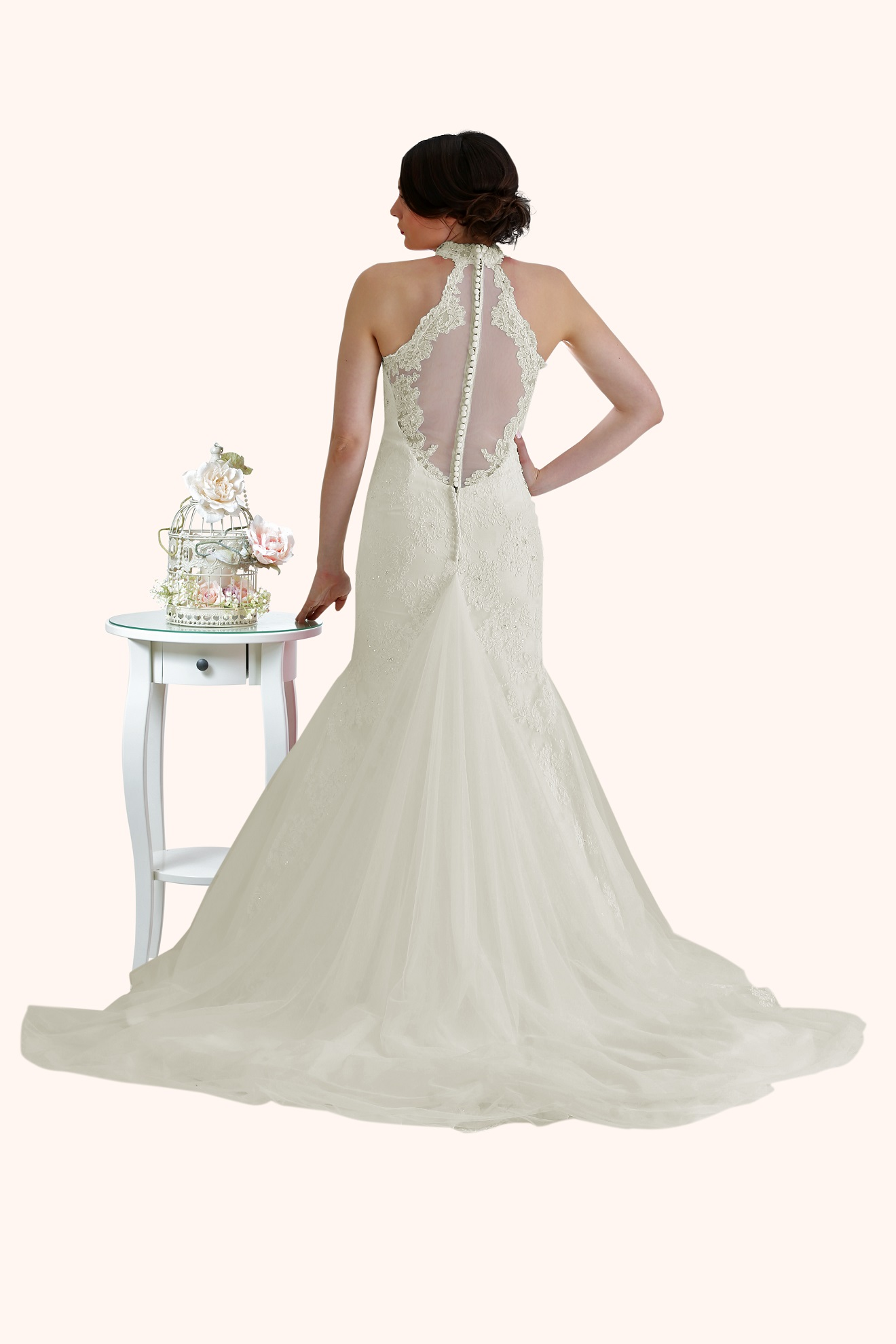 Zara - Lace High Neck Low Back Wedding Dress