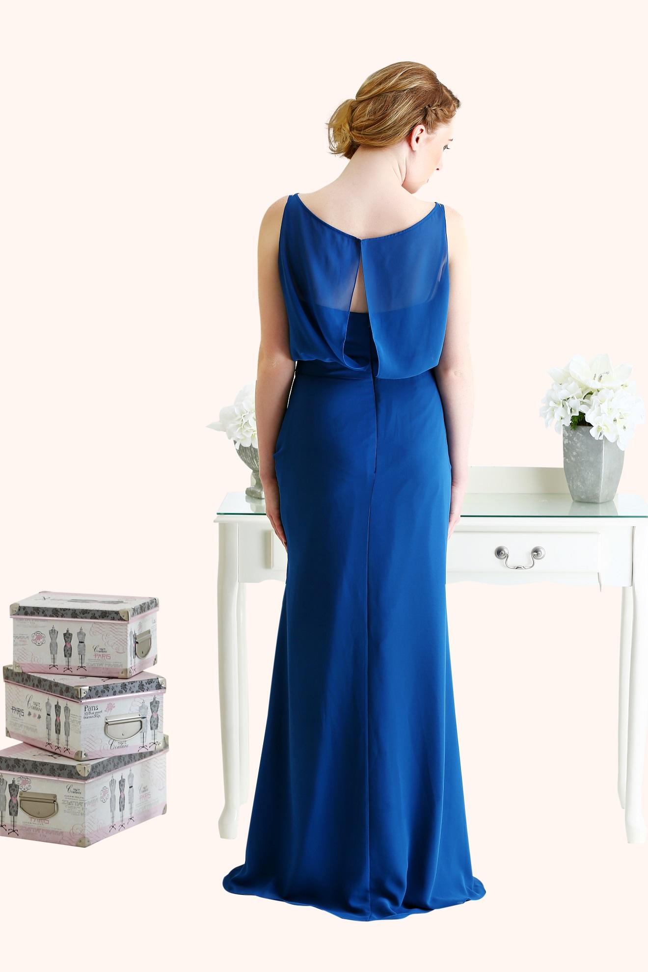Estilo Moda Milton Keynes Laura Long Length Blue Chiffon A Line Bridesmaid Dress Blousy Bodice