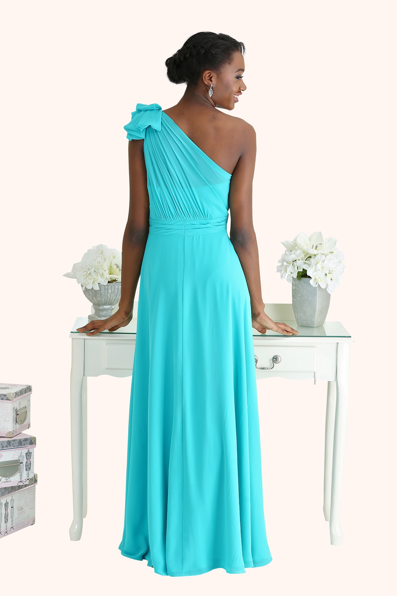 Tiffany one shoulder chiffon bridesmaid dress for Wedding dresses with tiffany blue